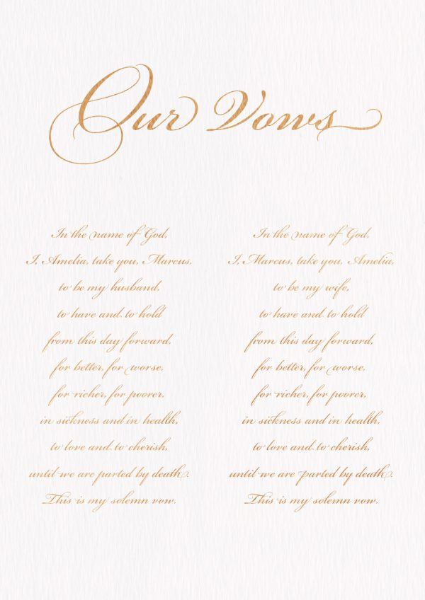 Classic Calligraphy Wedding Vows - Miss Modern Calligraphy