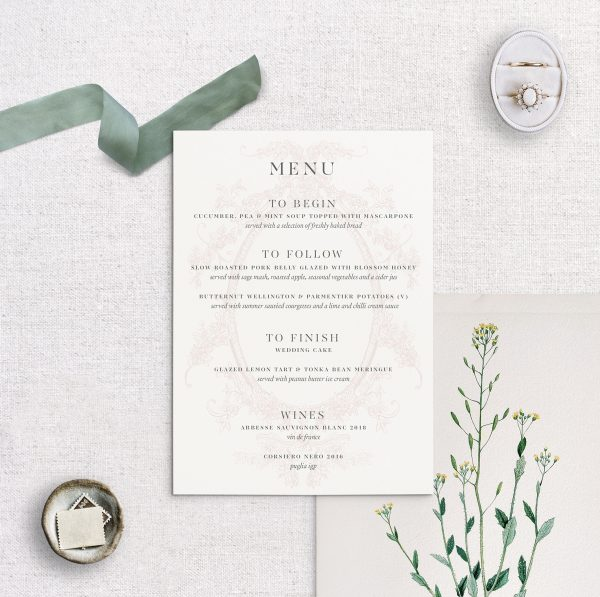 Wedding Menu - Clara - Miss Modern Calligraphy
