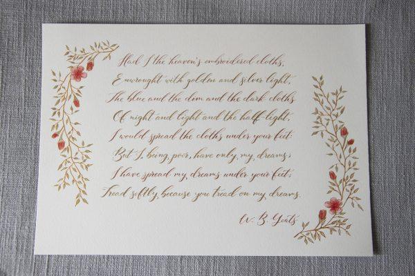 Tread on my dreams - Yeats - Miss Modern Calligraphy