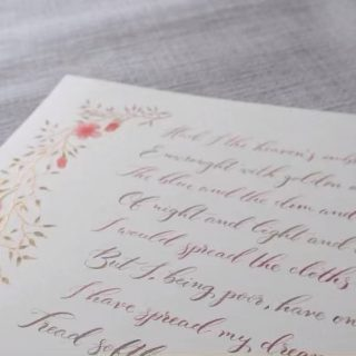 A little video to showcase a recent addition to my shop.  A pretty calligraphy piece using a passage from this famous W B Yeats poem in copper gold and walnut alternating inks. Down each side the illustrations are hand drawn in copper gold ink and hand painted using professional watercolours on 300gsm watercolour paper. A beautiful gift for someone special, you can choose the calligraphy style and ink colours if you wish.   Or you can choose a passage from your own favourite poem.  Either visit my shop or send me a DM to discuss your choices.  Enjoy!   #missmoderncalligraphy #treadsoftlybecauseyoutreadonmydreams #yeats #poetry #calligraphy #bespokecalligraphy